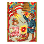Vintage 4to de los fuegos artificiales de julio postales