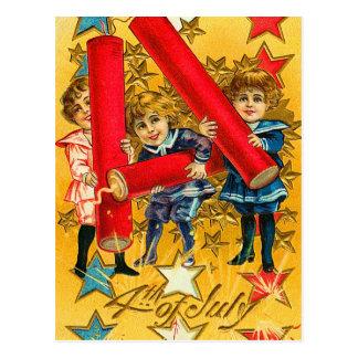 Vintage 4to de los fuegos artificiales de julio tarjetas postales
