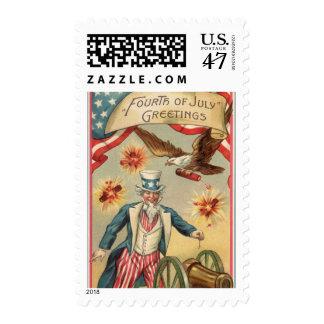 Vintage 4to de los fuegos artificiales de julio timbres postales