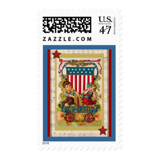 Vintage 4to de los niños de julio y del franqueo sello postal