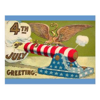 Vintage 4to de los saludos de julio postal
