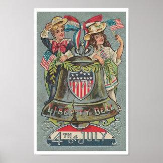 Vintage 4to del poster de julio Liberty Bell