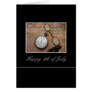 vintage 4to del saludo de julio tarjeta de felicitación