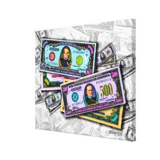 Vintage $500 Bills MONEY Wrapped Canvas