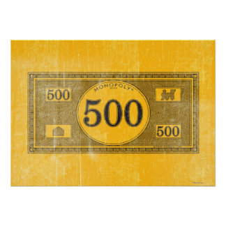 Vintage 500 Dollar Bill Poster