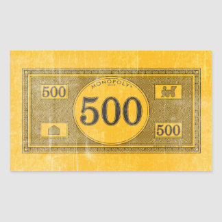 Vintage 500 Dollar Bill Rectangular Sticker