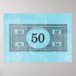 Vintage 50 Dollar Bill Poster