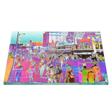 Beach Themed Vintage 50s Atlantic City Boardwalk Retro Popart Canvas Print