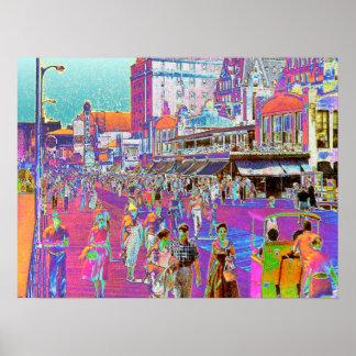 Vintage 50s Atlantic City Boardwalk Retro Popart Poster