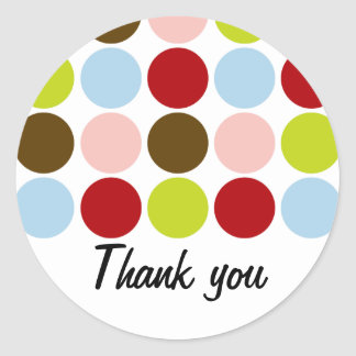 Vintage 50s Big Dots Thank You Stickers