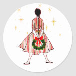 Vintage 50s Christmas Girl Classic Round Sticker
