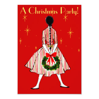 Vintage 50s Christmas Girl Invitation