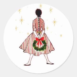 Vintage 50s Christmas Girl Round Sticker