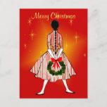 Vintage 50s Christmas Girl Vintage Postcard