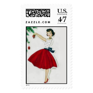 Vintage 50's Christmas Holiday Postage at Zazzle