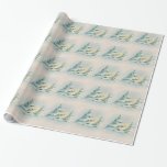 Vintage  50's Christmas Snow Covered Tree Paper Wrapping Paper