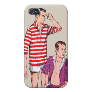 Vintage 50s Couple of Manly Men iPhone 4 Cases