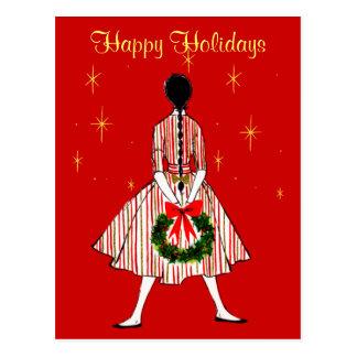 Vintage 50s Girl Business Christmas Postcard