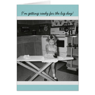 Vintage '50s Girl Ironing Congratulations Graduate Card