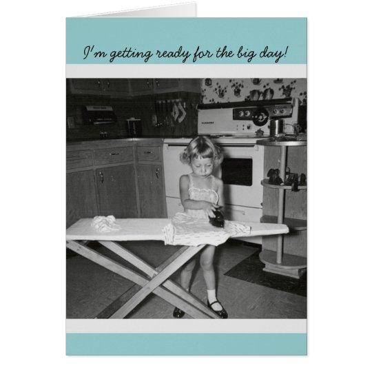Vintage '50s Girl Ironing Congratulations Graduate Card