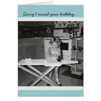 Vintage '50s Girl Ironing Happy Birthday Greeting Card