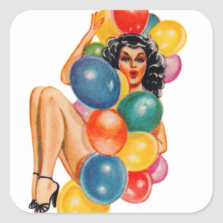 Vintage 50s Pin Up Pinup Ballons Girl Kitsch Square Sticker