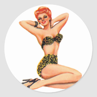 Vintage 50s Pin Up Pinup Swimsuit Girl Kitsch Classic Round Sticker