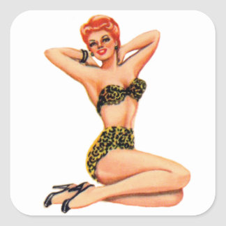 Vintage 50s Pin Up Pinup Swimsuit Girl Kitsch Square Sticker