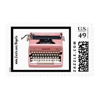 Vintage 50s Pink Typewriter Stamp