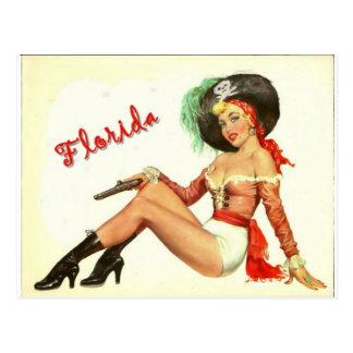 Vintage 50s Pirate Girl Postcard