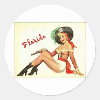 Vintage 50s Pirate Girl Round Stickers