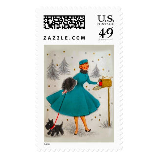 Vintage 50s Style Holiday Christmas Stamp