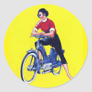 Vintage 50s Women Motorcycle Moped Gal Classic Round Sticker