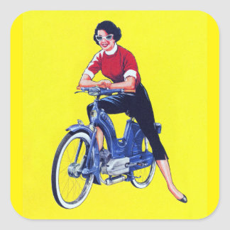 Vintage 50s Women Motorcycle Moped Gal Square Sticker