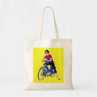 Vintage 50s Women Motorcycle Moped Gal Tote Bag