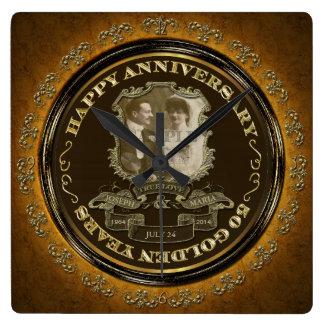 Vintage 50th Anniversary Square Wall Clocks