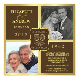 Vintage 50th Anniversary Fancy 2 Photo Invites