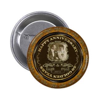 Vintage 50th Anniversary ID195 Pinback Button