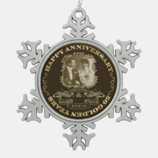 Vintage 50th Anniversary ID195 Snowflake Pewter Christmas Ornament