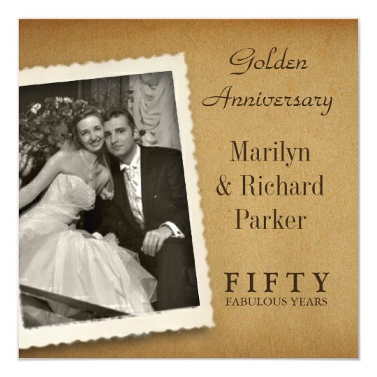 vintage 50th anniversary photo square invitations zazzle com