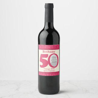 Vintage 50th birthday photo custom wine labels