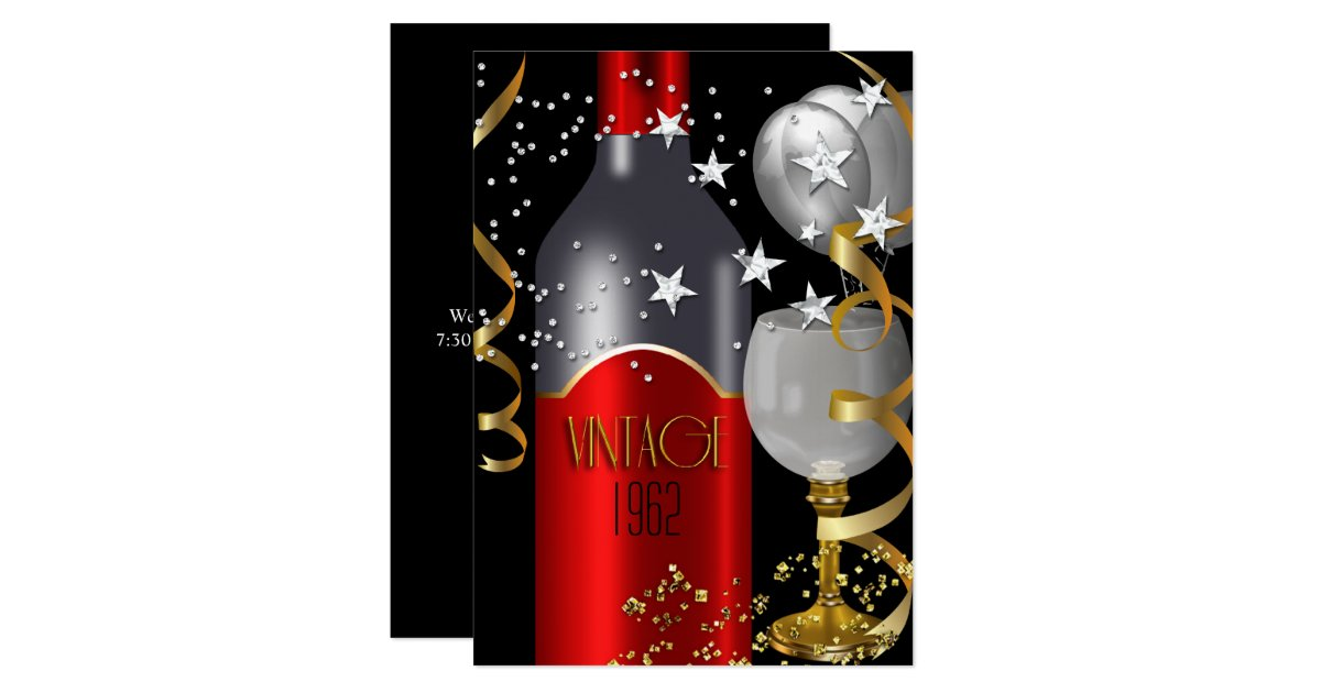 Vintage 50th Birthday Red Wine Black Gold Silver