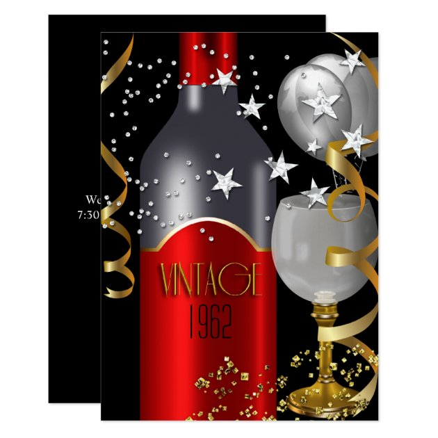 vintage 50th birthday red wine black gold silver