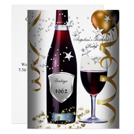 Vintage 50th Birthday Wine Black Gold Balloons Invitation