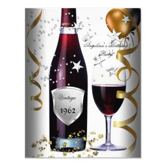 Vintage 50th Birthday Wine Black Gold Balloons 4.25x5.5 Paper Invitation Card