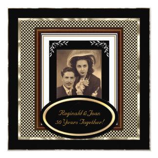 Vintage 50th Wedding Anniversary Black Sepia Gold Card
