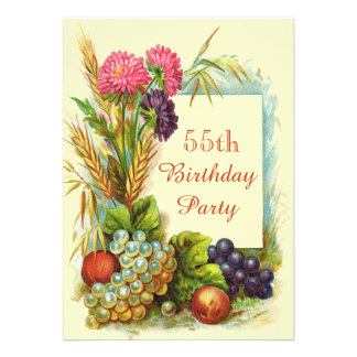 Vintage 55th Birthday Colorful Fruits & Flowers Personalized Announcements