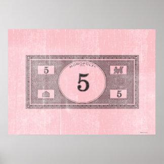 Vintage 5 Dollar Bill Poster