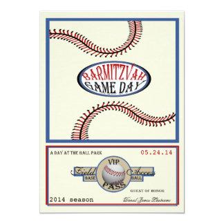 Vintage 5 x 7 retros barra Mitzvah del béisbol Invitación Personalizada