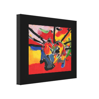 Vintage 60s colorful heart wrapped canvas print